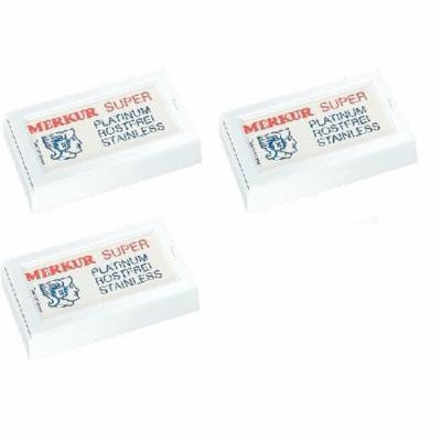 Merkur Double Edge Safety Razor Blades, 10 ct. (Pack of 3) + Schick Slim Twin ST for Dry Skin