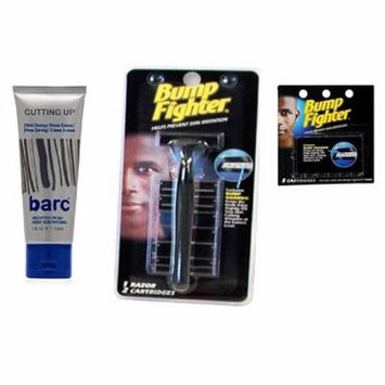 Barc Cutting Up, Unscented Shave Cream, 2 Oz + Bump Fighter Razor for Men + Bump Fighter Cartridge Refill, 5 Ct + Schick Slim Twin ST for Dry Skin