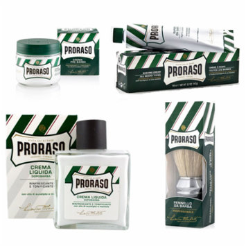 Proraso Menthol&Eucalyptus Set:Pre-shave Cream 3.6oz+Shave Cream 5.2oz+Aftershave Balm 3.4oz+Brush + Schick Slim Twin ST for Sensitive Skin