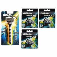Gillette Mach3 Razor Blade Handle + Gillette Mach3 Refill Cartridges, 8 Count (Pack of 3) + Scunci Black Roller Pins, 18 Pcs