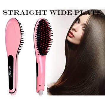 Digital Electric Hair Brush Hair Straightener Comb Pink WCYE