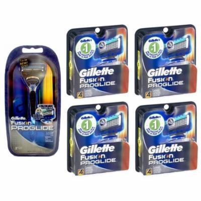 Gillette Fusion Proglide Razor + 2 Refill Blades w/ Gillette Fusion Proglide Refill Cartridges 4 Ct (Pack of 4) + Schick Slim Twin ST for Dry Skin