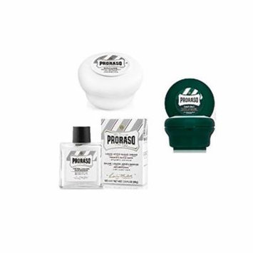 Proraso Shave Soap, Sensitive 150 ml + Proraso shaving soap menthol and eucalyptus 4oz + Proraso Liquid After Shave Cream, 3.4 Ounce + Old Spice Deadlock Spiking Glue, Travel Size, .84 Oz