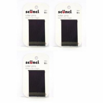 Scunci Black Roller Pins, 18 Pcs (3 Pack) + Schick Slim Twin ST for Dry Skin