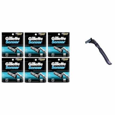 Compatible Razor Handle + Gillette Sensor Refill Razor Blade Cartridges, 10 Ct (Pack of 6) + Beyond BodiHeat Patch, 1 Ct