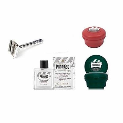 Proraso Shave Soap, Sandalwood 150 ml + Proraso Shaving Soap Menthol and Eucalyptus 4 Oz + Double Edge Razor + Proraso Liquid After Shave Cream, 3.4 Ounce + Schick Slim Twin ST for Dry Skin