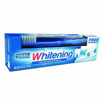 Lucky Super Soft Adult Toothpaste with Toothbrush, Whitening, 6.4 Oz