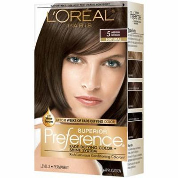 L'Oreal Paris Superior Preference Permanent Hair Color, Medium Brown 5 1.0 ea(pack of 3)