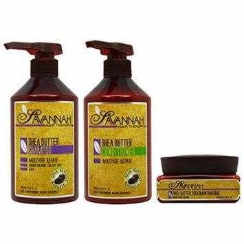 Savannah Shea Butter Shampoo & Conditioner 16.9oz & Masque 8.45oz