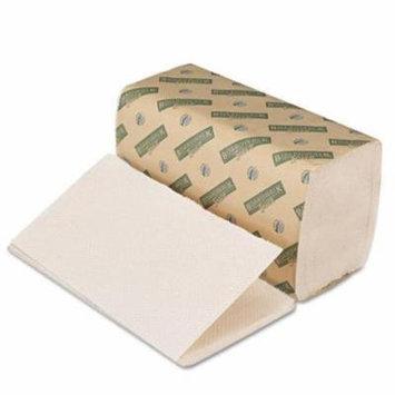 Green Folded Paper Towels, Single-Fold, Natural White, 9W x 10L, 4020/Carton