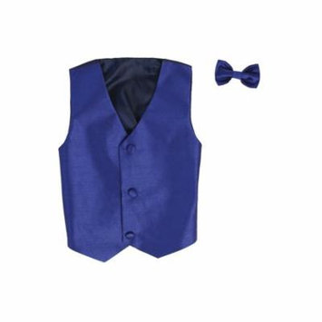 Vest and Clip On Baby Boy Bowtie set - ROYAL - 2T/3T