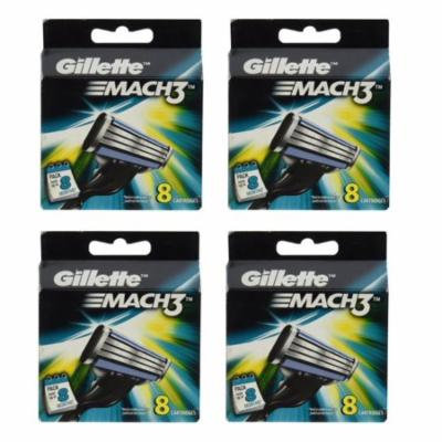 Gillette Mach3 Refill Cartridges, 8 Count (Pack of 4) + Schick Slim Twin ST for Sensitive Skin