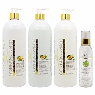 Dominican Magic Nourishing Shampoo & Conditioner & Moisture Lock Leave on 32oz & Thermal Protector Hair Spray 6oz