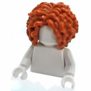 LEGO Dark Orange Very Curly Hair, Parted in the Middle Loose Hair