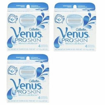 Gillette Venus Pro Skin Refill Razor Blade Cartridges, 12 Count (3 Packs of 4) + Scunci Black Roller Pins, 18 Pcs