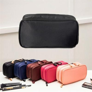Multi-function practical polyester fabric double zipper makeup bag double layer space design travel package fine workmanship and durable