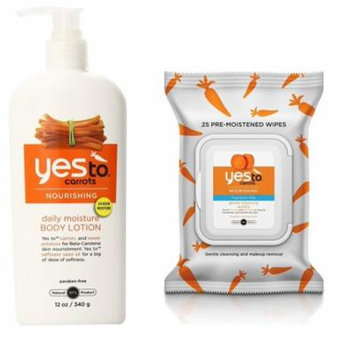 Yes To Carrots Moisturizing Body Lotion, 12 Fl Oz + Fragrance-Free Gentle Cleansing Wipes, 25 Ct + Old Spice Deadlock Spiking Glue, Travel Size, .84 Oz