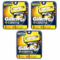 Gillette Fusion Proshield Cartridges, 8 Ct (Pack of 3) + Travel Toothbrush, Color May Vary