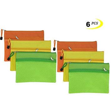 Kinhshion Mesh Zipper Pouch, 3 PCS, Double Layer Zipper Bag Clear Zipper Pouch Small Organizer bag Zipper Folder Bag Cosmetic Bags Travel Storage Bags, 3 Bags/Package, Colour Random. (A5)