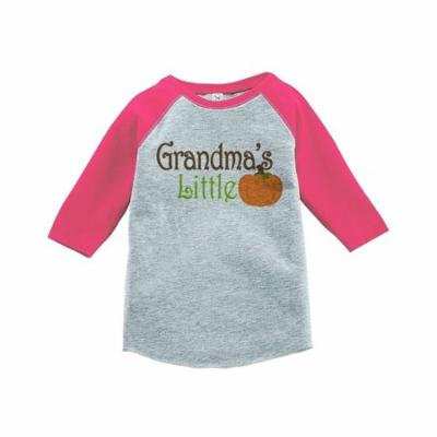 Custom Party Shop Baby's Grandma's Little Pumpkin Fall Pink Raglan - 3T
