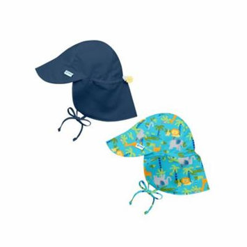 i play Baby and Toddler Flap Sun Protection Hat-Navy and Aqua Jungle - 2 Pack