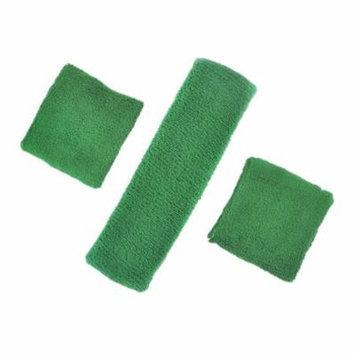 GOGO Thick Solid Color Sweatband Set (1 Headband + 2 Wristbands)-Green
