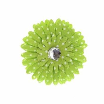 Hair Accessory Green Polka Dot Rhinestone Daisy Flower Hairclip (Set of 12)