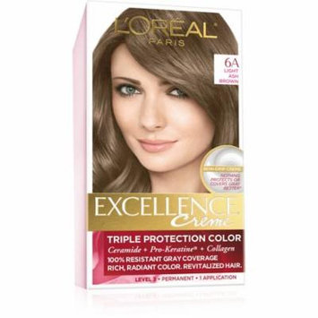 L'Oreal Paris Excellence Creme Triple Protection Permanent Hair Color Creme, Light Ash Brown 6A 1.0 ea(pack of 2)