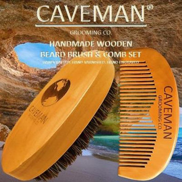 Handcrafted Natural Fine Tooth Wooden Beard Comb + Beard Brush by Caveman