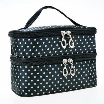 Large Makeup Bag Portable Double-Deck Toiletry Bag Dot Pattern Makeup Bag AMZSE