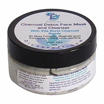 Charcoal Detox Clay Facial Mask and Cleanser With Vita Burst Charcoal Beads,Reduces Pores,Purges Blackheads and Treats Acne, 2oz By Diva Stuff