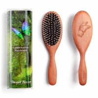Pure Wild Boar Bristle with Nylon Pin Combination Hair Brush for Fine to Medium hair, Style PWC, For Medium Hair, made in Germany, Engraved Butterfly, by Desert Breeze Distributing