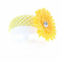 Hair Accessory Yellow Polka Dot Daisy Flower Crochet Headband (Set of 4)
