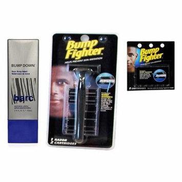 Barc Bump Down Razor Bump Relief, Alcohol-Free, Unscented Lotion, 3.34 Oz + Bump Fighter Razor for Men + Bump Fighter Cartridge Refill, 5 Ct + Schick Slim Twin ST for Dry Skin