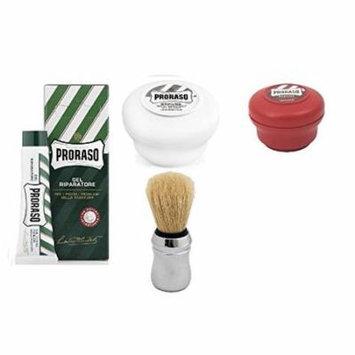 Proraso Shaving Soap, Sandalwood 150 ml + Proraso Shaving Soap, Sensative 150 ml + Proraso Professonal Shaving Brush + Proraso Styptic Gel 10ml + Schick Slim Twin ST for Dry Skin