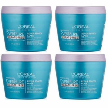 L'Oreal Paris Hair Care Expertise Everpure Repair and Defend Rinse Out Mask, 8.5 Fl Oz (Pack of 4) + 3 Count Eyebrow Trimmer