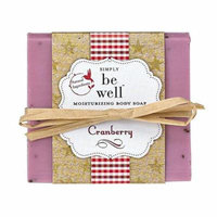 simply be well 100% natural hand crafted plant based moisturizing body bar soap (cranberry)