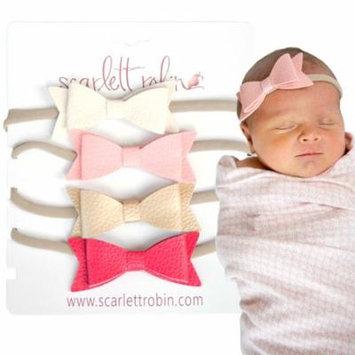4 Baby Girl Hair Bows on Nylon Headbands   Leather