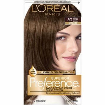 L'Oreal Paris Superior Preference Permanent Hair Color, Medium Golden Brown 5G 1.0 ea(pack of 2)