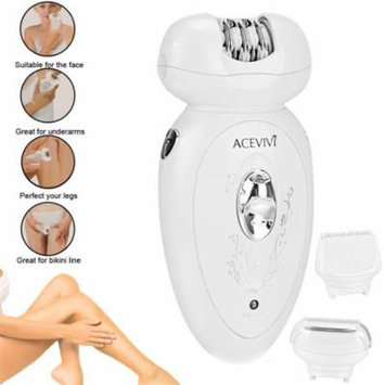 Rechargeable 3 in 1 Set LED Indicator Light Lady Epilator Shaver Clipper Head With Brush White DEAML