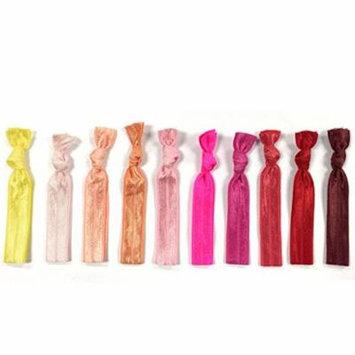 ALLYDREW 10 Pack No Crease Elastic Ribbon Hair Ties Ponytail Hair Ties Ribbon Hair Bands - Red Ombre