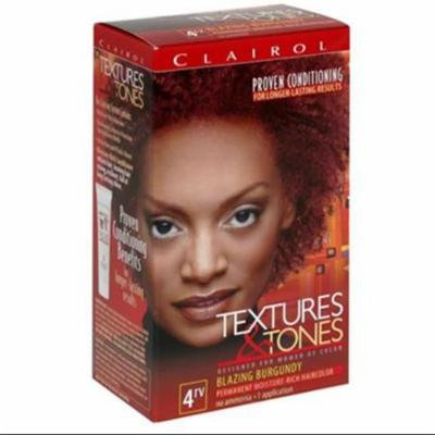 Clairol Textures & Tones Permanent Hair Color, Blazing Burgundy 4RV 1.0 ea(pack of 4)