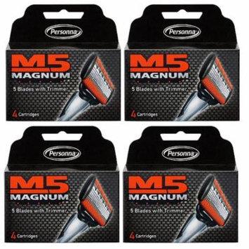 Personna M5 Magnum 5 Refill Razor Blade Cartridges, 4 ct. (Pack of 4) + Schick Slim Twin ST for Sensitive Skin