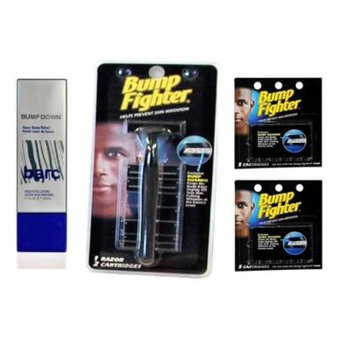 Barc Bump Down Razor Bump Relief, Alcohol-Free, Unscented Lotion, 1.7 Oz + Bump Fighter Razor for Men + Bump Fighter Cartridge Refill, 5 Ct (Pack of 2) + Schick Slim Twin ST for Dry Skin