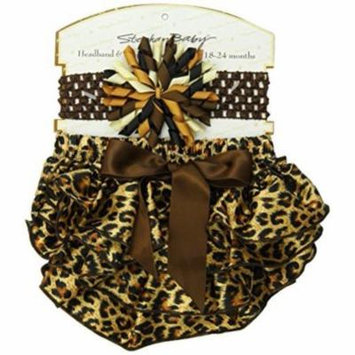 Stephan Baby Ruffled Diaper Cover and Curly Band Gift Set, Cheetah Print, 18-24 Months