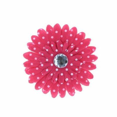 Hair Accessory Hot Pink Polka Dot Rhinestone Daisy Flower Hairclip (Set of 12)