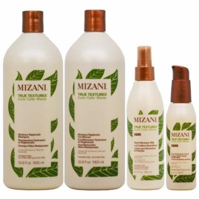 Mizani Moisture Replenish Shampoo + Conditioner 33.8oz + Refresher Milk + Enhancing Lotion