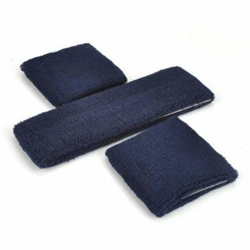 GOGO Thick Solid Color Sweatband Set (1 Headband + 2 Wristbands), Price for ONE DOZEN-Navy