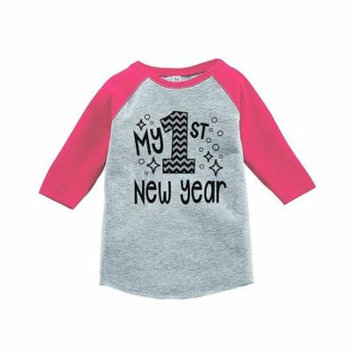 7 ate 9 Apparel Baby's 1st New Year's Eve Pink Baseball Tee - 3T