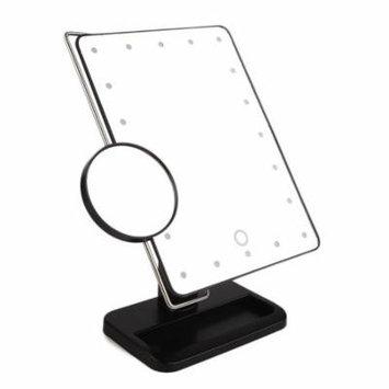 340 Degree Free Rotation MR-L208 20 LED Adjustable Brightness Women Makeup Tabletop Mirror + Stainless Steel Magnifier, Black